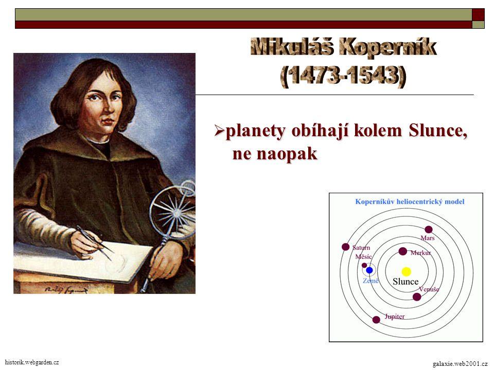 Mikuláš Koperník (1473-1543) ne naopak planety obíhají kolem Slunce,