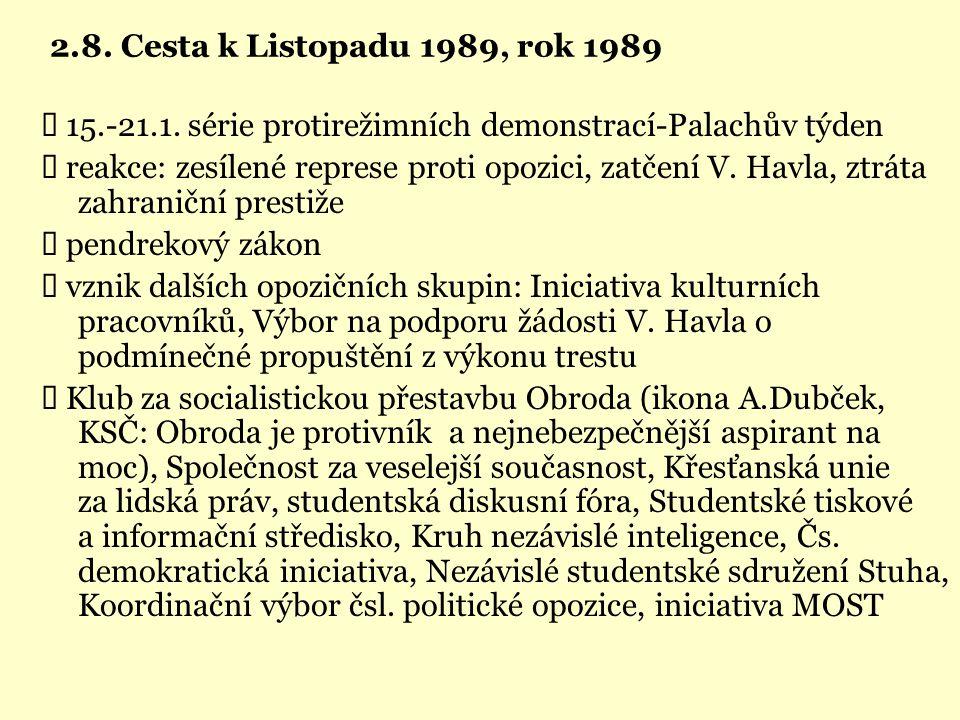 2.8. Cesta k Listopadu 1989, rok 1989 Ü 15.-21.1. série protirežimních demonstrací-Palachův týden.