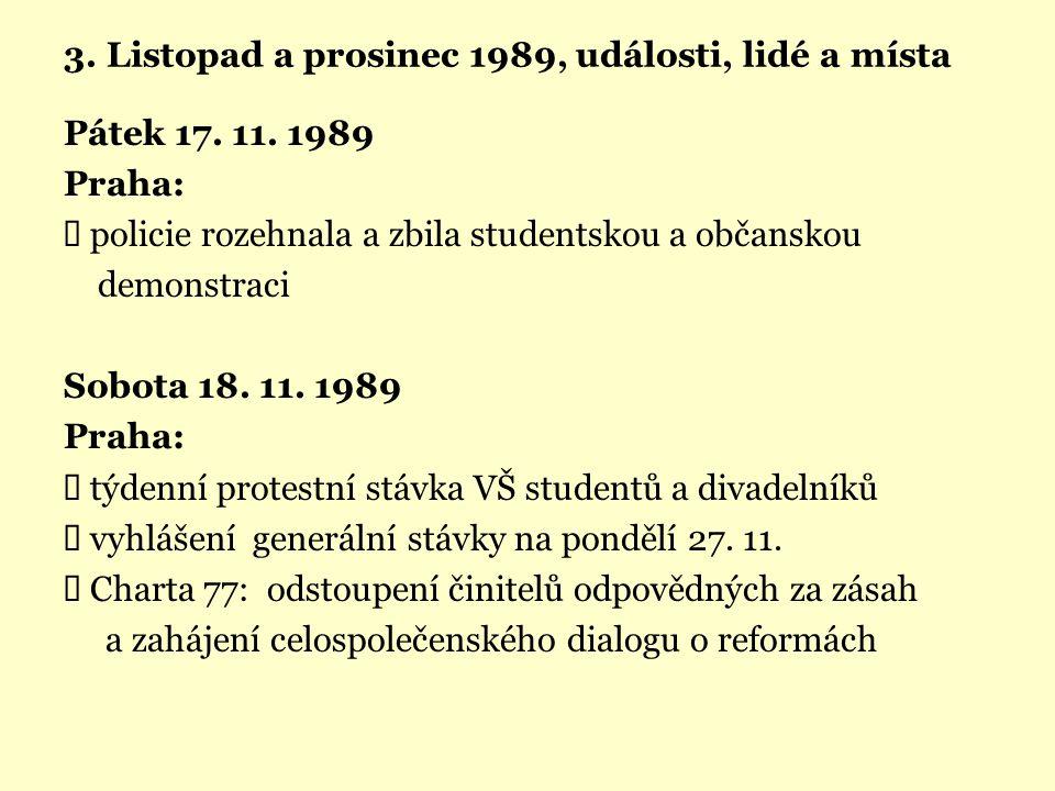 3. Listopad a prosinec 1989, události, lidé a místa