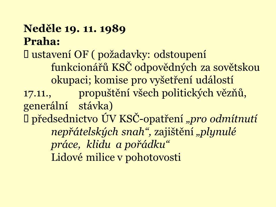 Neděle 19. 11. 1989 Praha: Ü ustavení OF ( požadavky: odstoupení