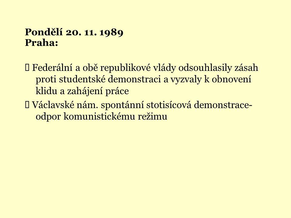 Pondělí 20. 11. 1989 Praha: