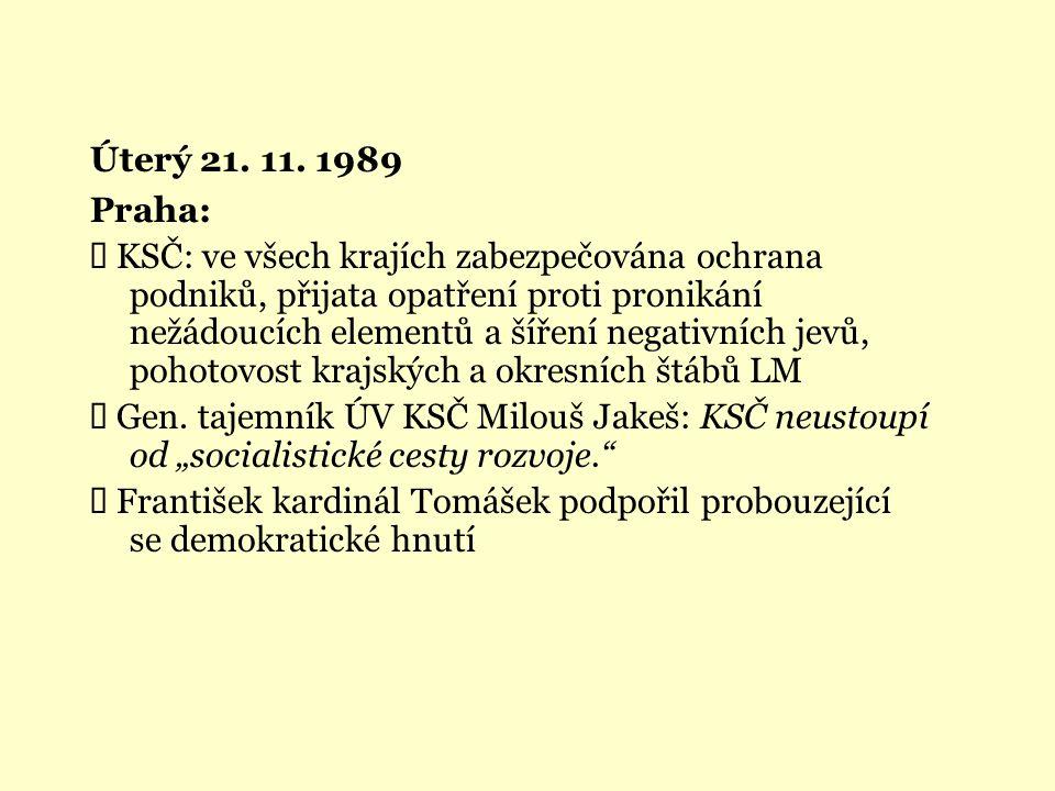 Úterý 21. 11. 1989 Praha: