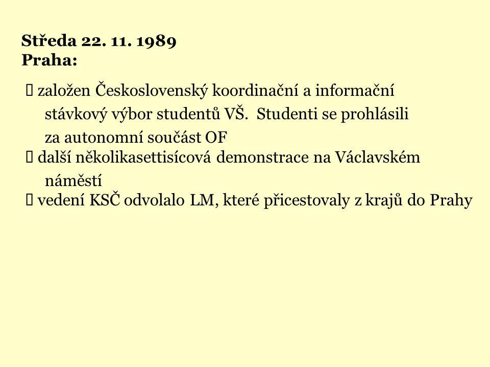 Středa 22. 11. 1989 Praha: Ü založen Československý koordinační a informační. stávkový výbor studentů VŠ. Studenti se prohlásili.