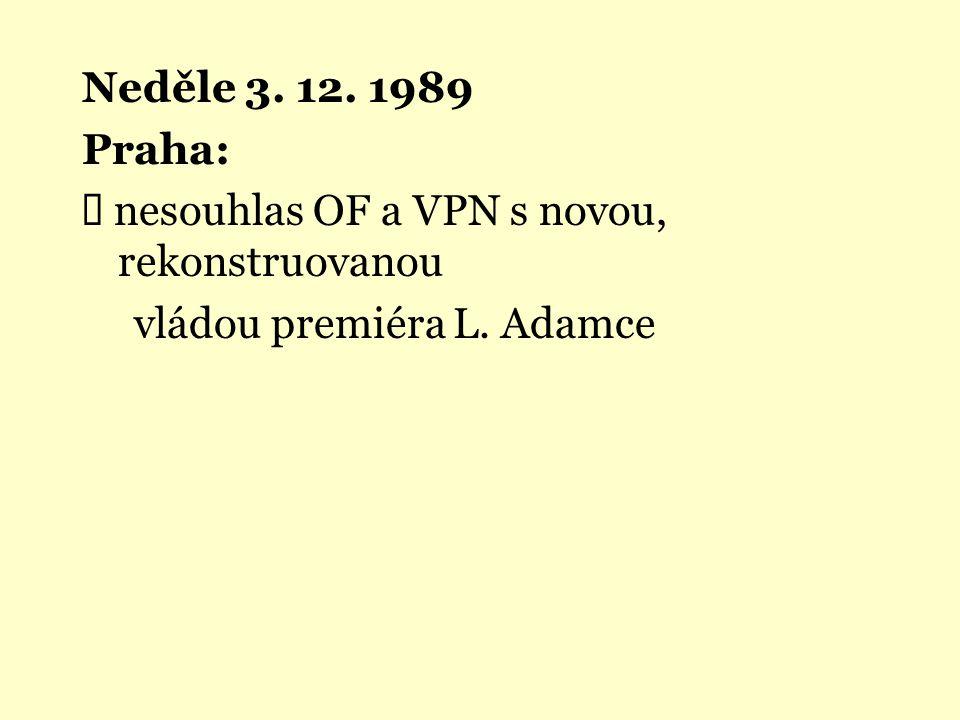 Neděle 3. 12. 1989 Praha: Ü nesouhlas OF a VPN s novou, rekonstruovanou vládou premiéra L. Adamce