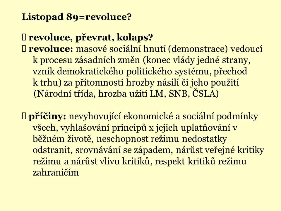 Listopad 89=revoluce. Ü revoluce, převrat, kolaps