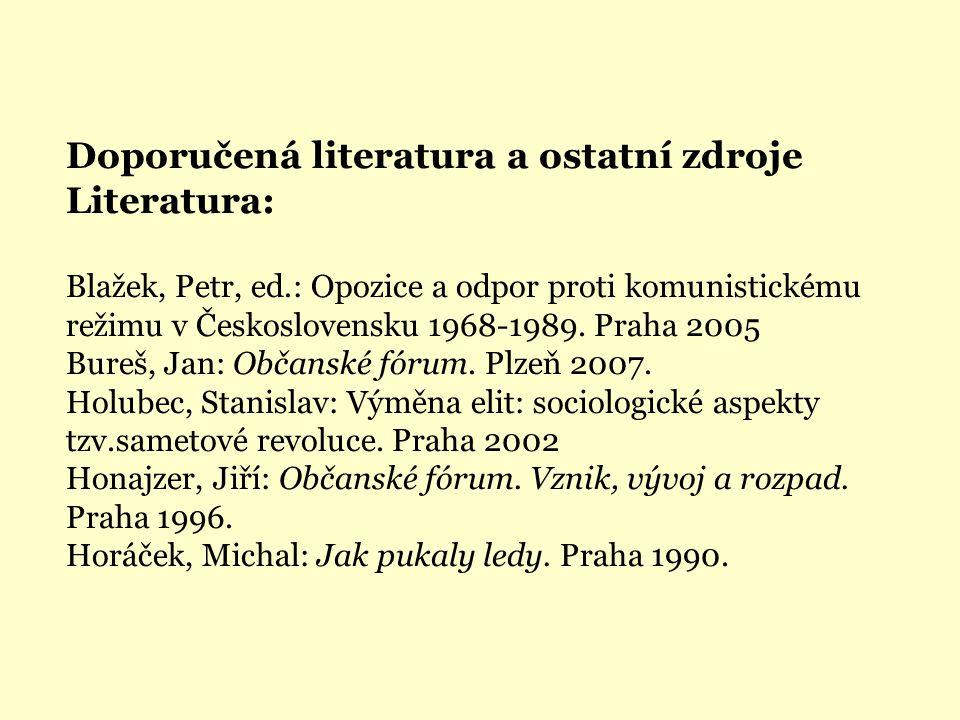 Doporučená literatura a ostatní zdroje Literatura: Blažek, Petr, ed