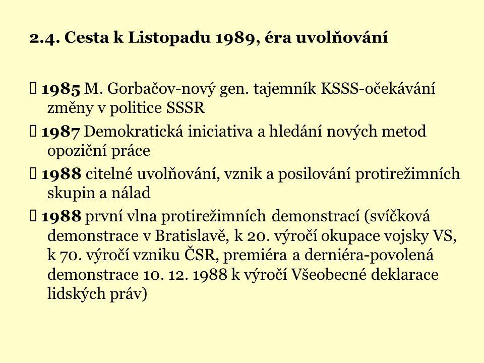 2.4. Cesta k Listopadu 1989, éra uvolňování