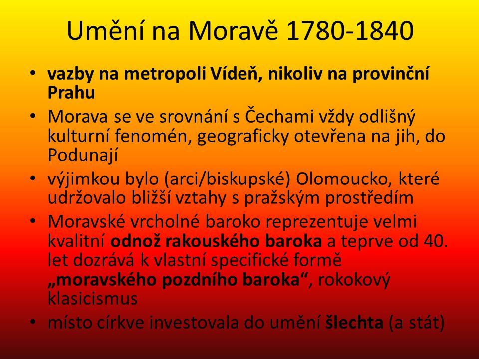 Umění na Moravě 1780-1840 vazby na metropoli Vídeň, nikoliv na provinční Prahu.