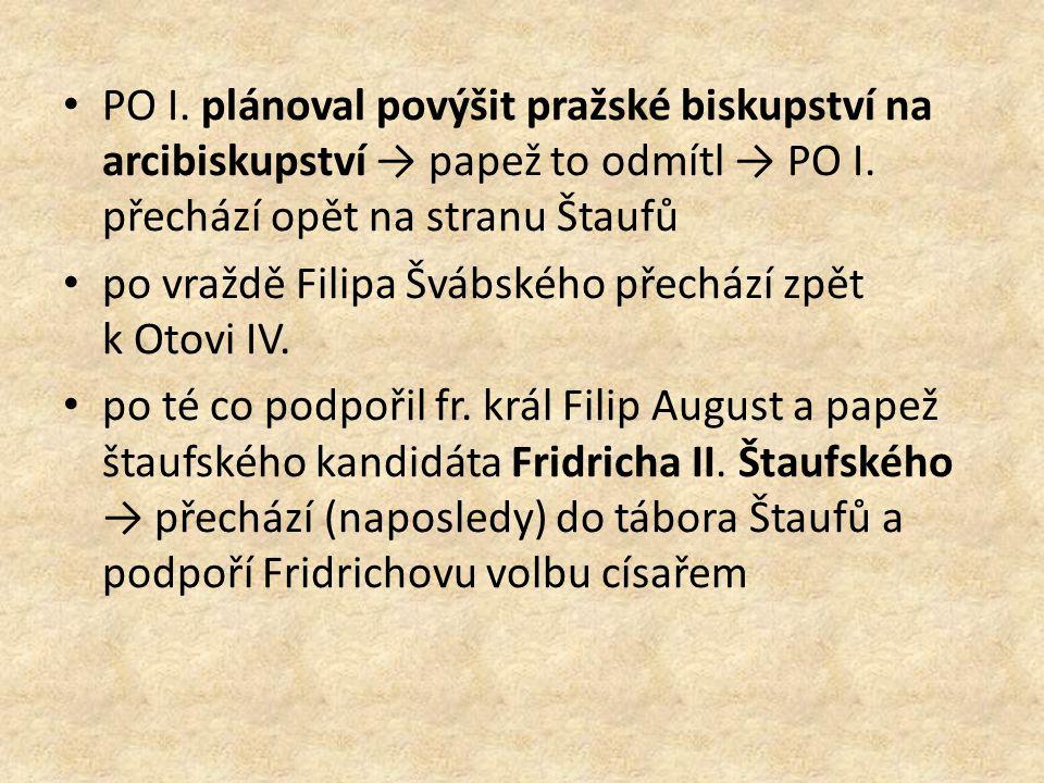 PO I. plánoval povýšit pražské biskupství na arcibiskupství → papež to odmítl → PO I. přechází opět na stranu Štaufů