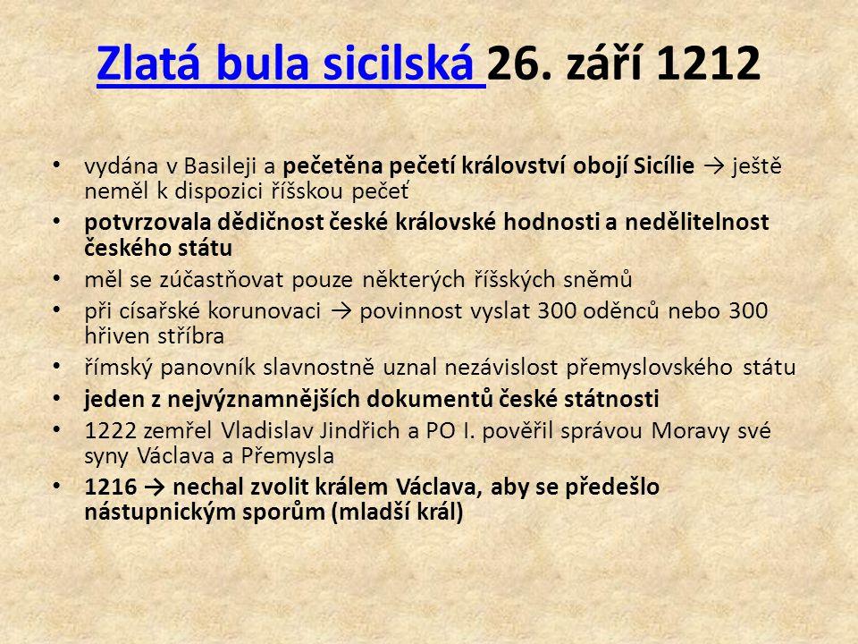 Zlatá bula sicilská 26. září 1212