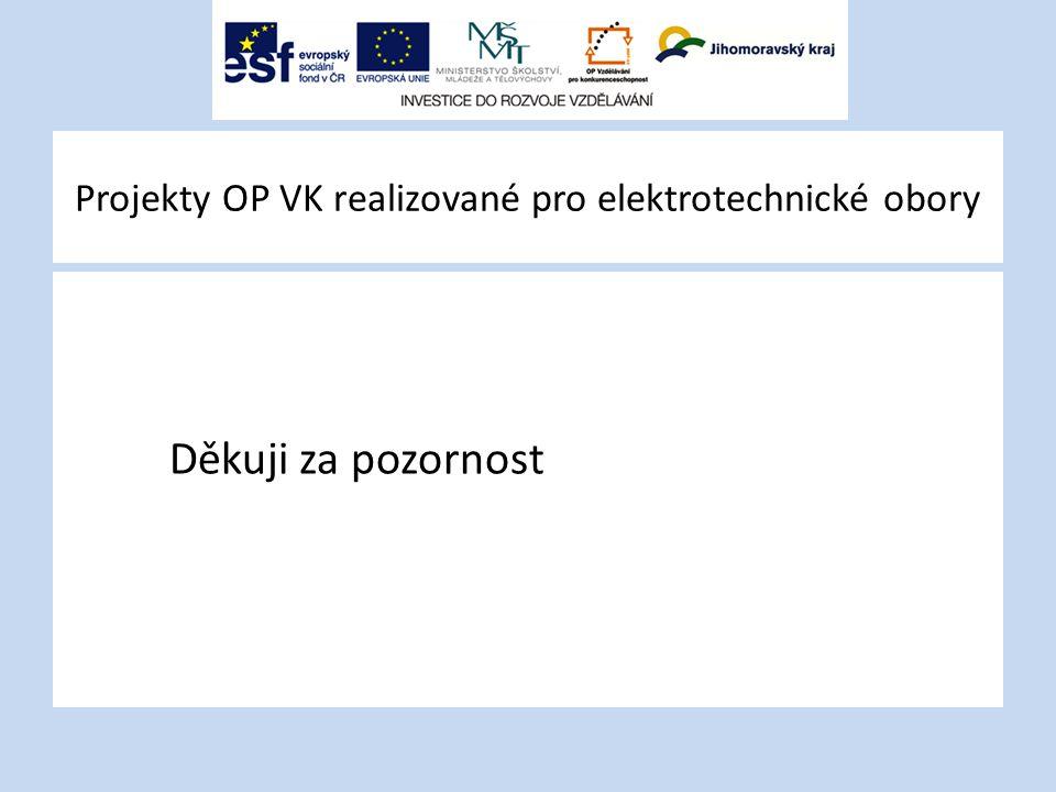 Projekty OP VK realizované pro elektrotechnické obory