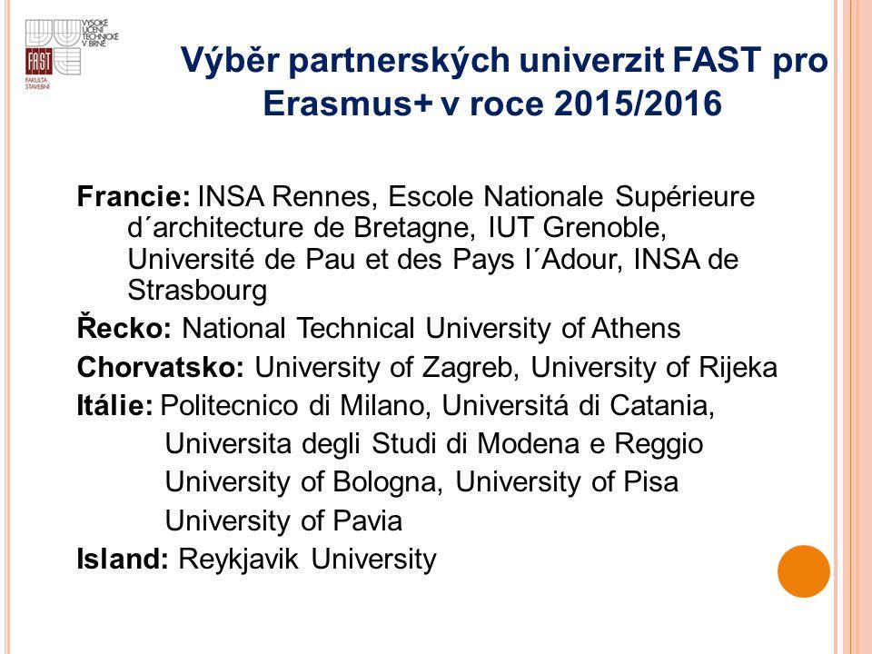 Výběr partnerských univerzit FAST pro
