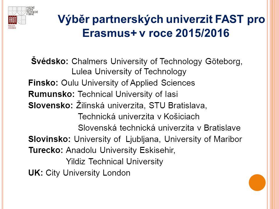 Výběr partnerských univerzit FAST pro Erasmus+ v roce 2015/2016