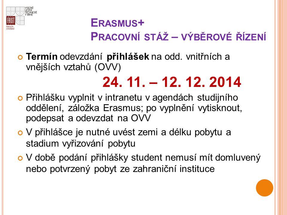 Erasmus+ Pracovní stáž – výběrové řízení