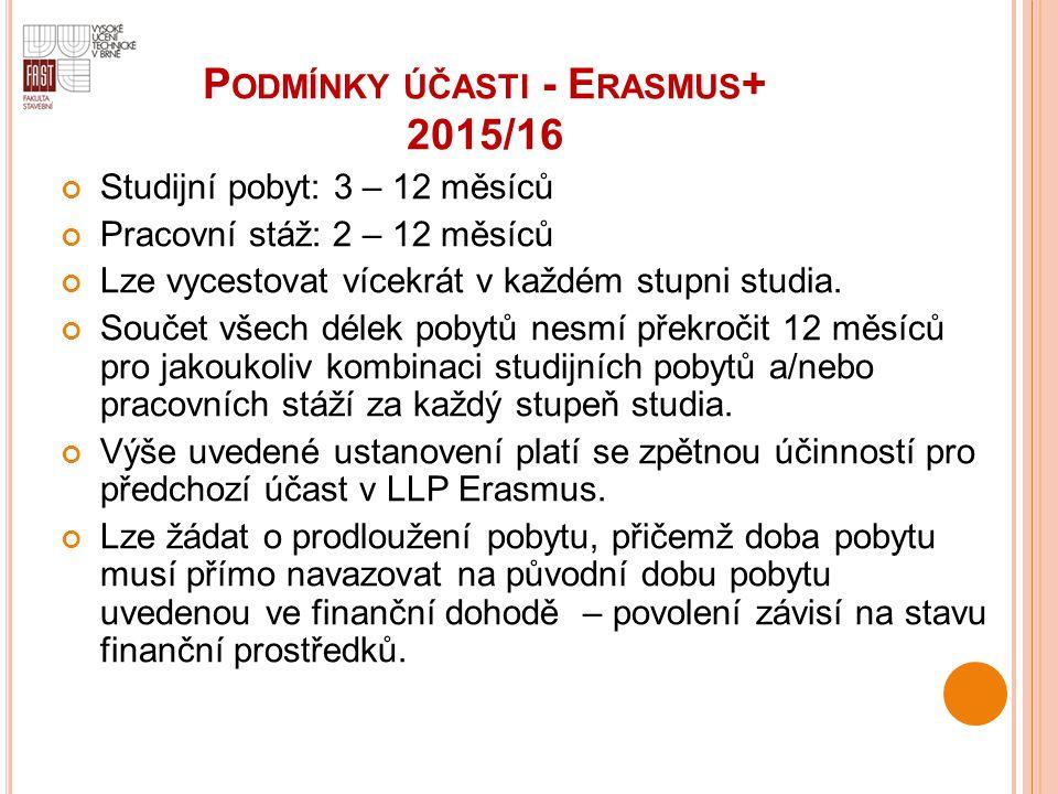 Podmínky účasti - Erasmus+ 2015/16
