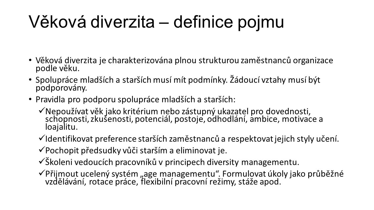 Věková diverzita – definice pojmu