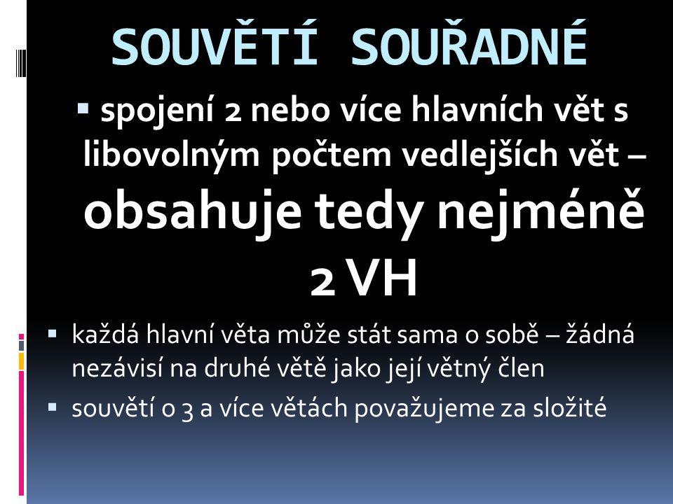 SOUVĚTÍ SOUŘADNÉ spojení 2 nebo více hlavních vět s libovolným počtem vedlejších vět – obsahuje tedy nejméně 2 VH.