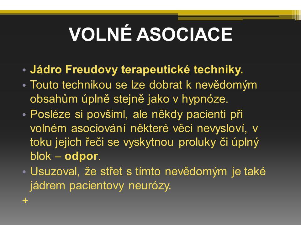 VOLNÉ ASOCIACE Jádro Freudovy terapeutické techniky.