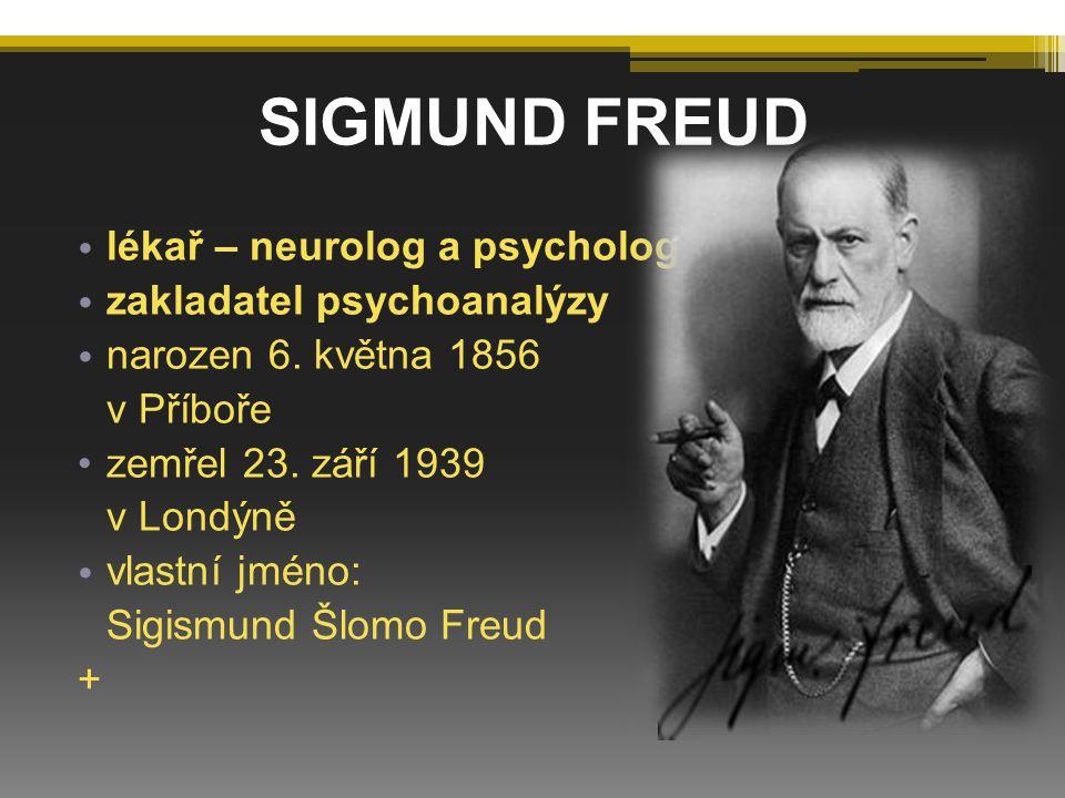 SIGMUND FREUD lékař – neurolog a psycholog zakladatel psychoanalýzy