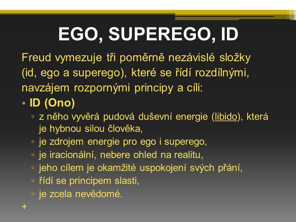 EGO, SUPEREGO, ID Freud vymezuje tři poměrně nezávislé složky