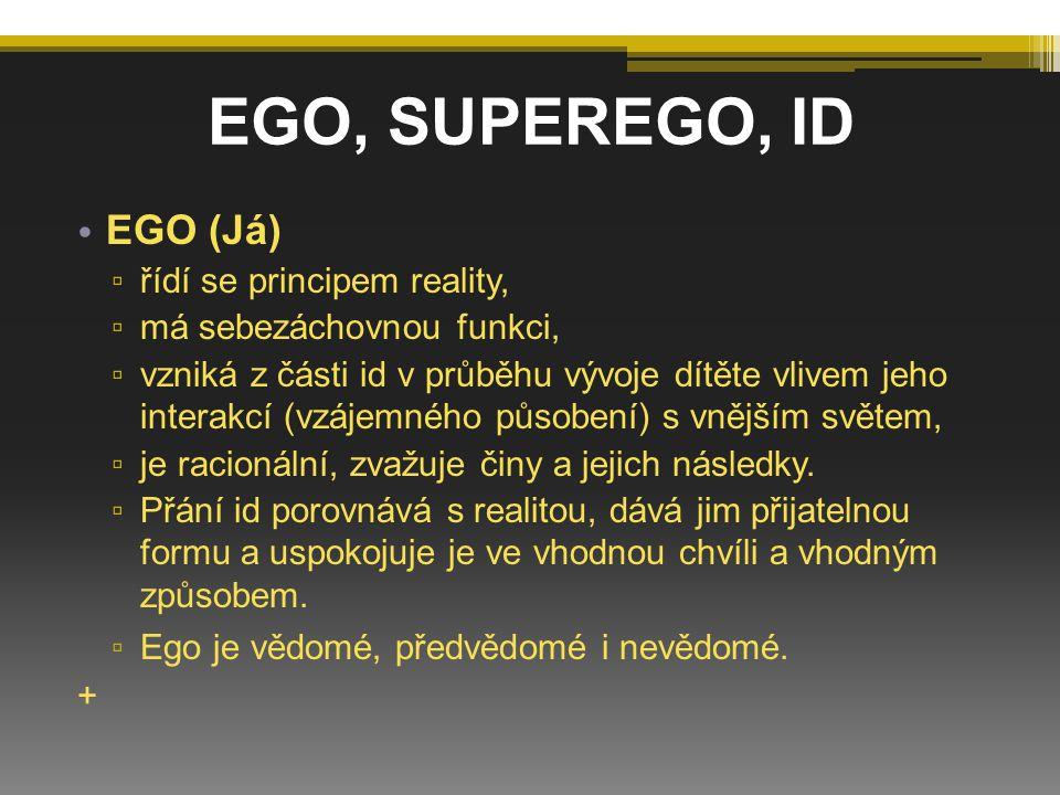 EGO, SUPEREGO, ID EGO (Já) řídí se principem reality,