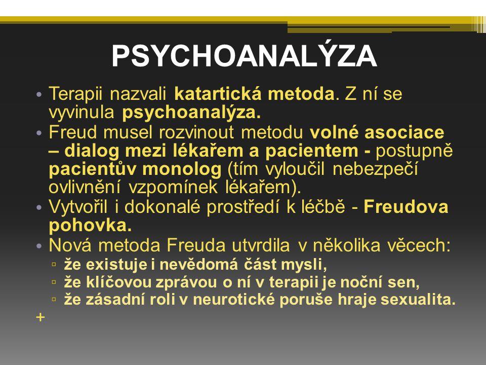 PSYCHOANALÝZA Terapii nazvali katartická metoda. Z ní se vyvinula psychoanalýza.