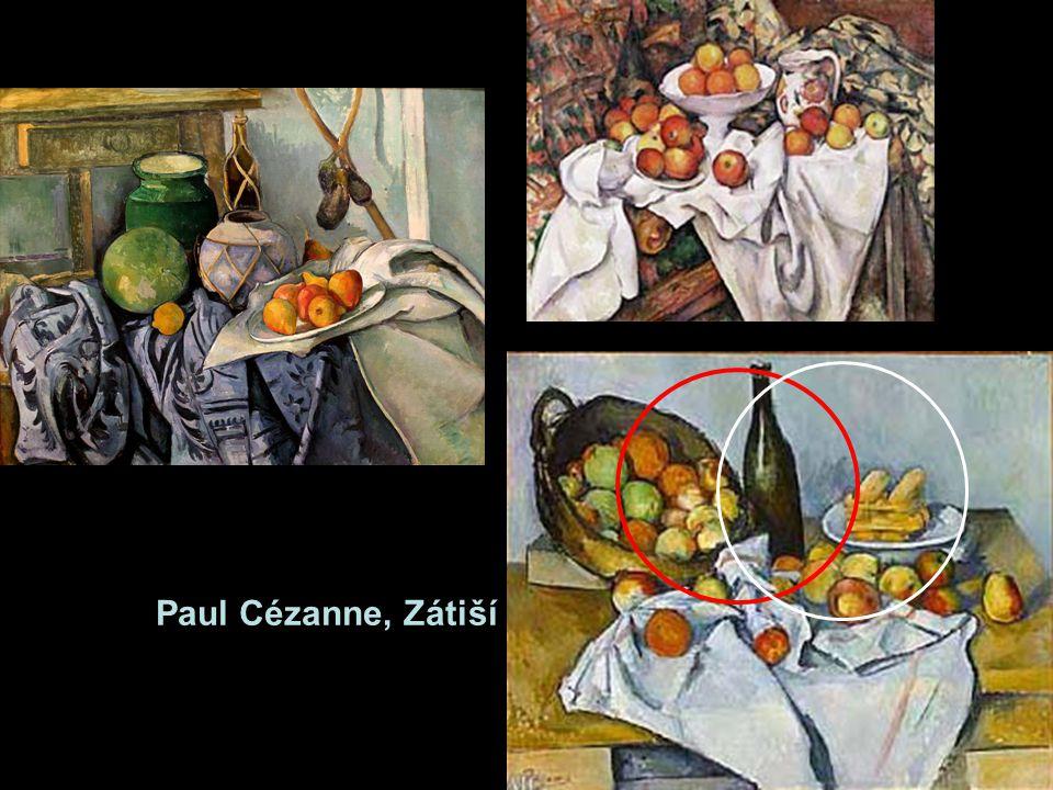 Zátiší byla pro Cézannovo hledání prostorových vztahů nejvhodnějším námětem. Pevné tvary, pod nimiž je patrná základní geometrie – koule, válec, kužel. A vědomí vztahů mezi objekty v prostoru a postavení malíře vůči nim. Ani zátiší neobsáhneme jediným pohledem, aniž bychom pohnuli hlavou. Láhev na obrázku vpravo dole vidíme společně s košíkem, který je vlevo od ní. ((6) Ale také ji – jinak - vidíme společně a bílým talířkem napravo.(7) Každou sestavu předmětů tak můžeme rozložit na vztahy po dvou. A třetím v tomto vztahu a prostoru je společně s malířem i divák.