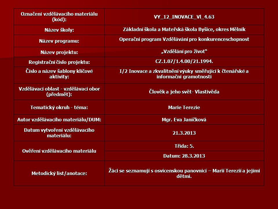 Označení vzdělávacího materiálu (kód): VY_12_INOVACE_Vl_4.63