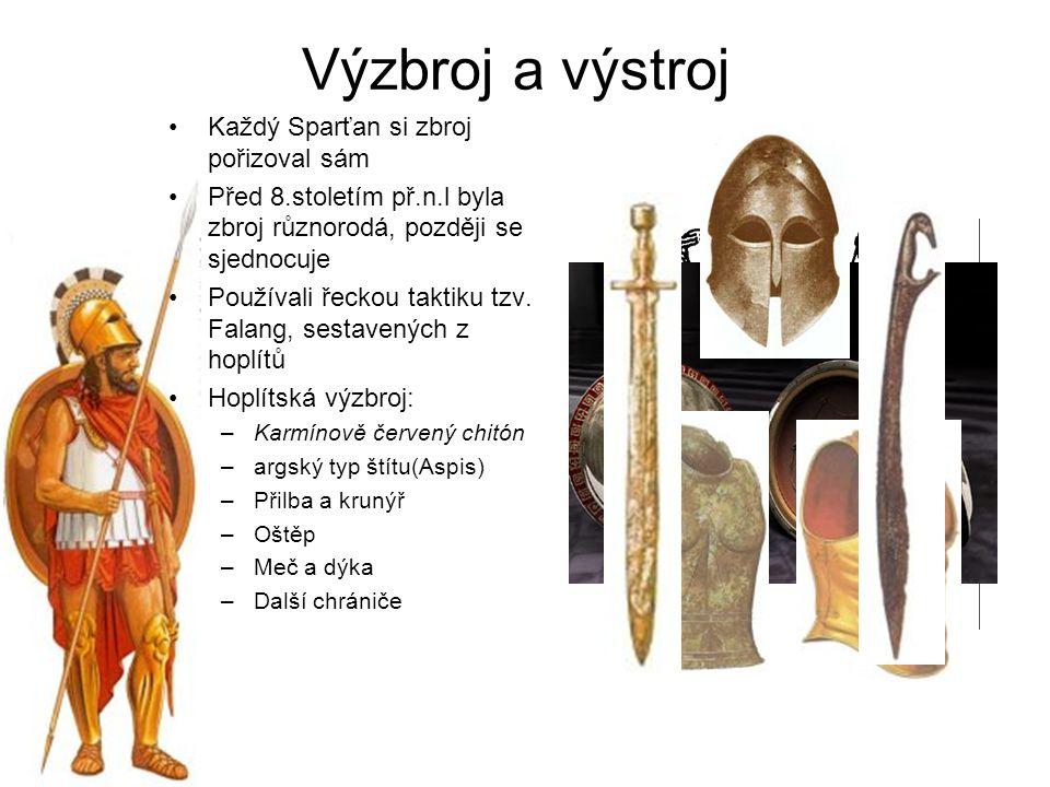 Výzbroj a výstroj Každý Sparťan si zbroj pořizoval sám