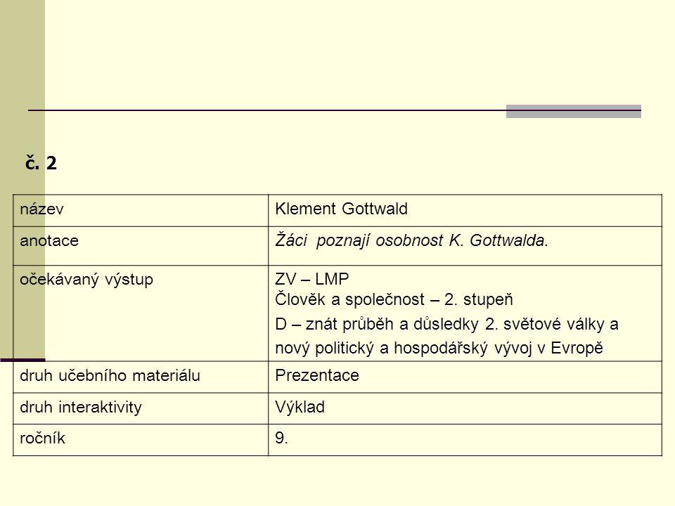 č. 2 název Klement Gottwald anotace
