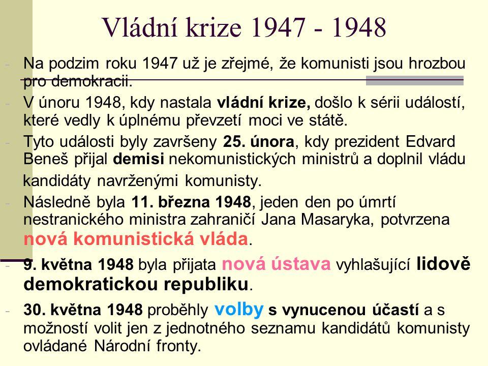 Vládní krize 1947 - 1948 Na podzim roku 1947 už je zřejmé, že komunisti jsou hrozbou pro demokracii.