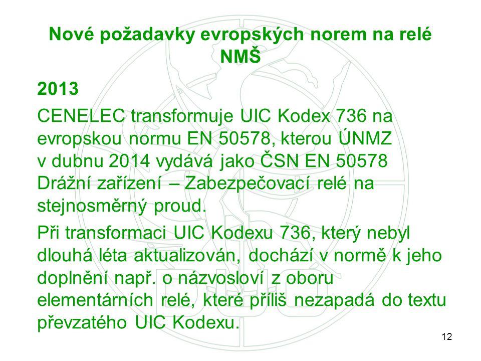 Nové požadavky evropských norem na relé NMŠ