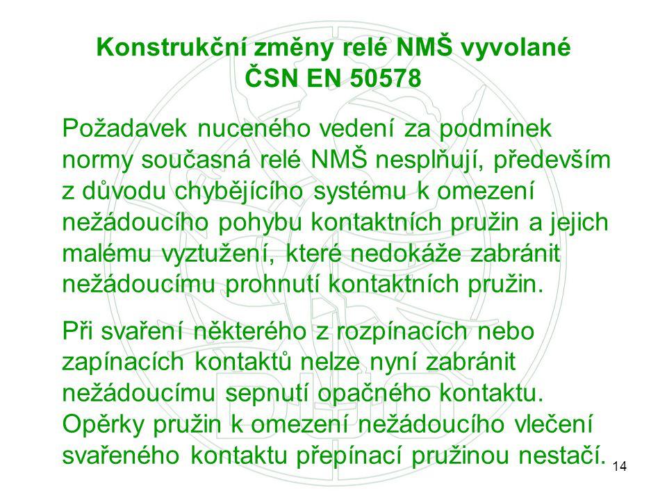 Konstrukční změny relé NMŠ vyvolané ČSN EN 50578