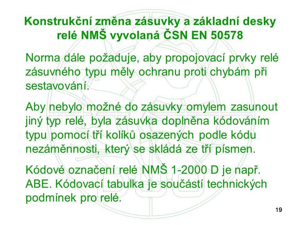 Konstrukční změna zásuvky a základní desky relé NMŠ vyvolaná ČSN EN 50578