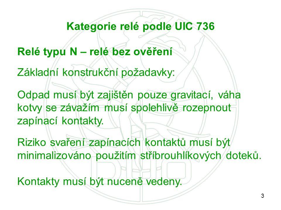 Kategorie relé podle UIC 736