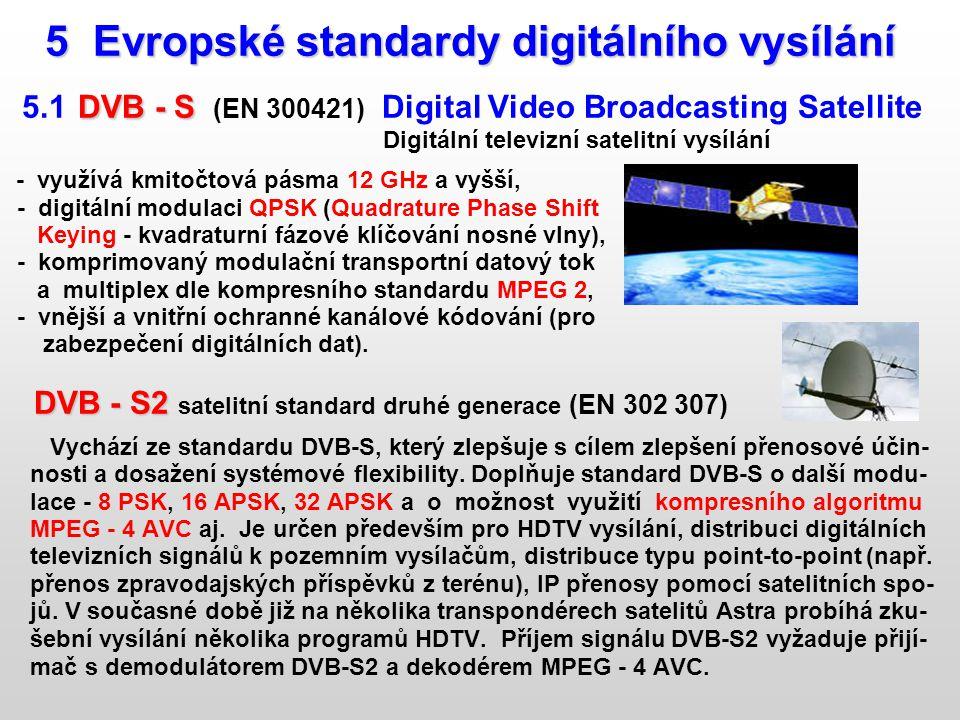 5 Evropské standardy digitálního vysílání