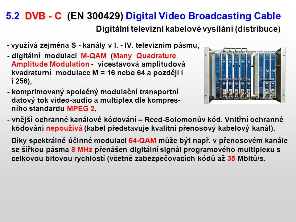 - využívá zejména S - kanály v I. - IV. televizním pásmu,