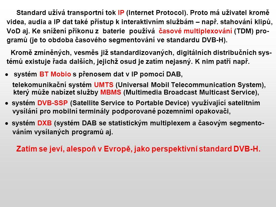 Standard užívá transportní tok IP (Internet Protocol)