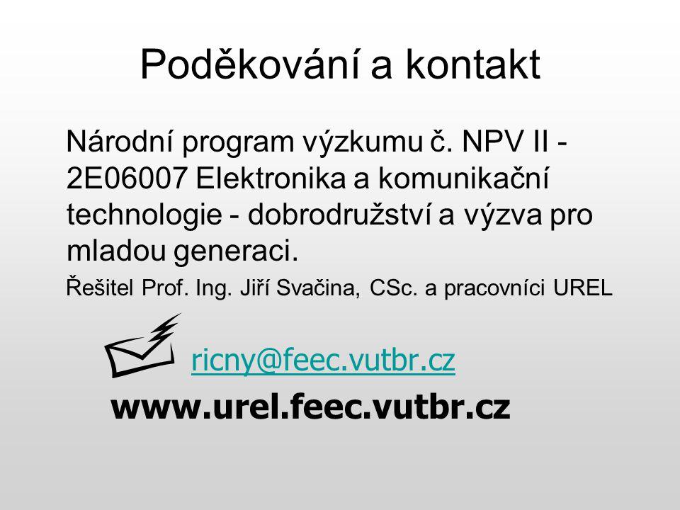 Poděkování a kontakt www.urel.feec.vutbr.cz