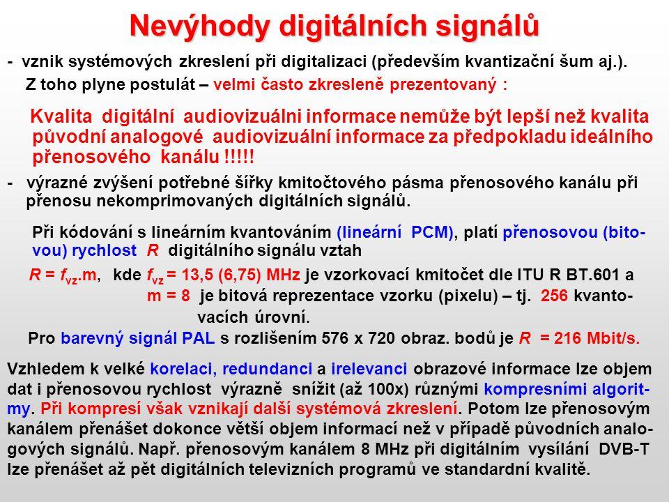 Nevýhody digitálních signálů