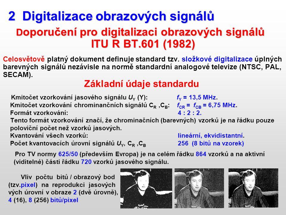 ITU R BT.601 (1982) 2 Digitalizace obrazových signálů