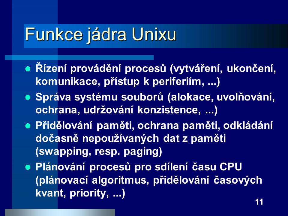 Funkce jádra Unixu Řízení provádění procesů (vytváření, ukončení, komunikace, přístup k periferiím, ...)