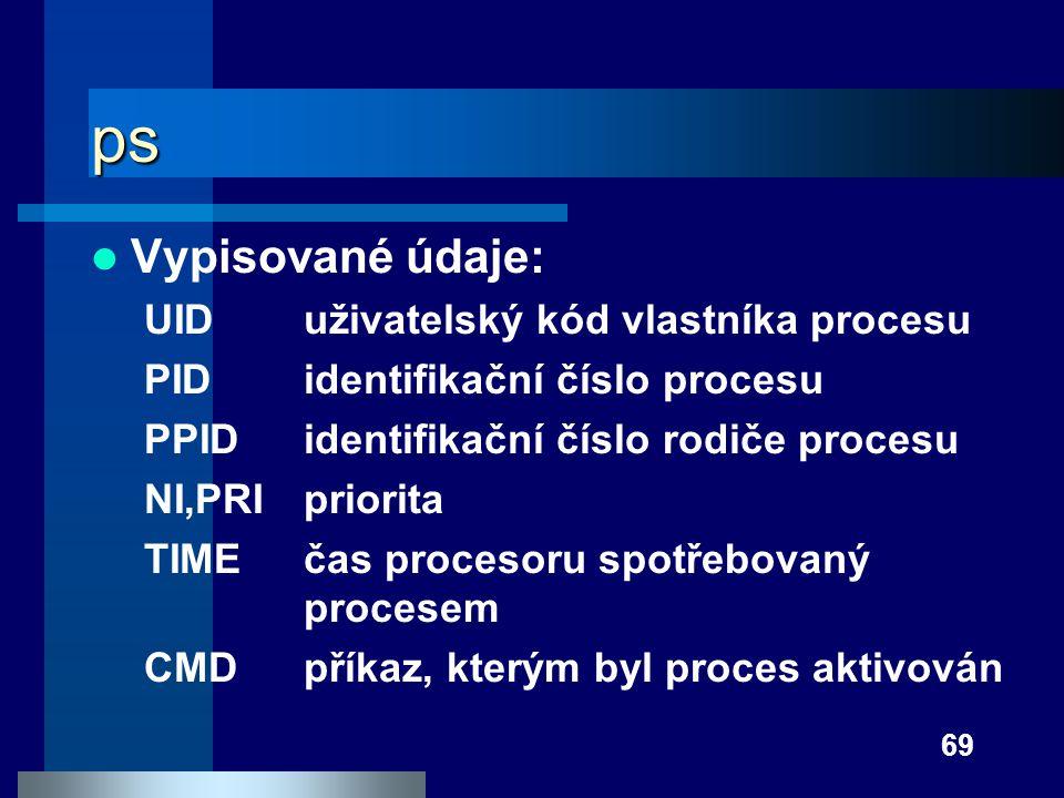 ps Vypisované údaje: UID uživatelský kód vlastníka procesu