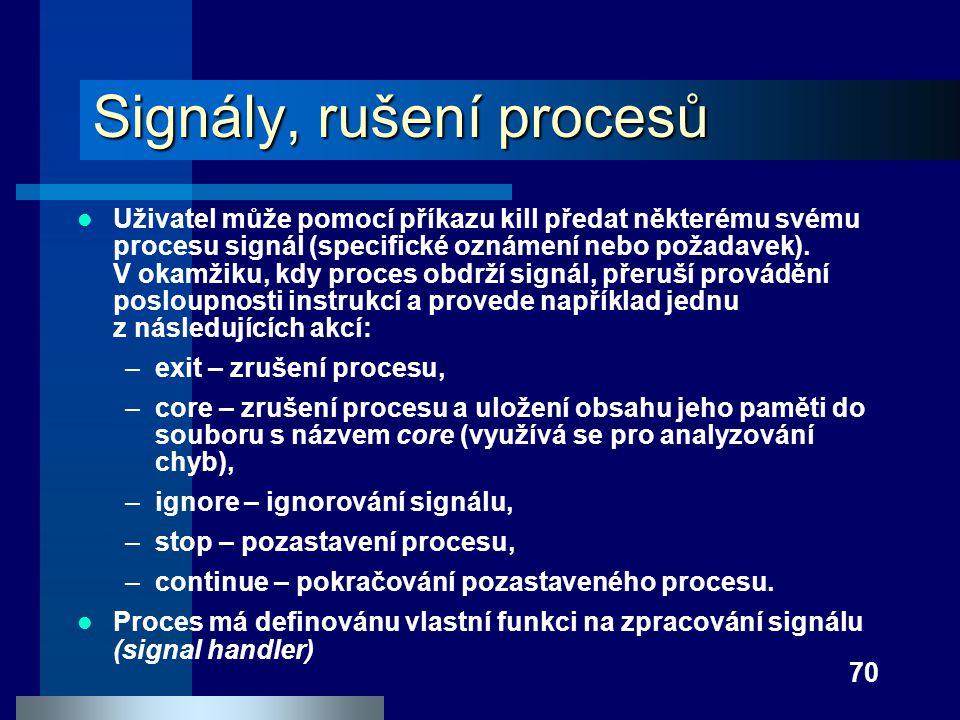 Signály, rušení procesů