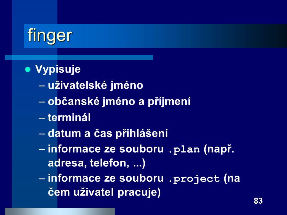 finger Vypisuje uživatelské jméno občanské jméno a příjmení terminál