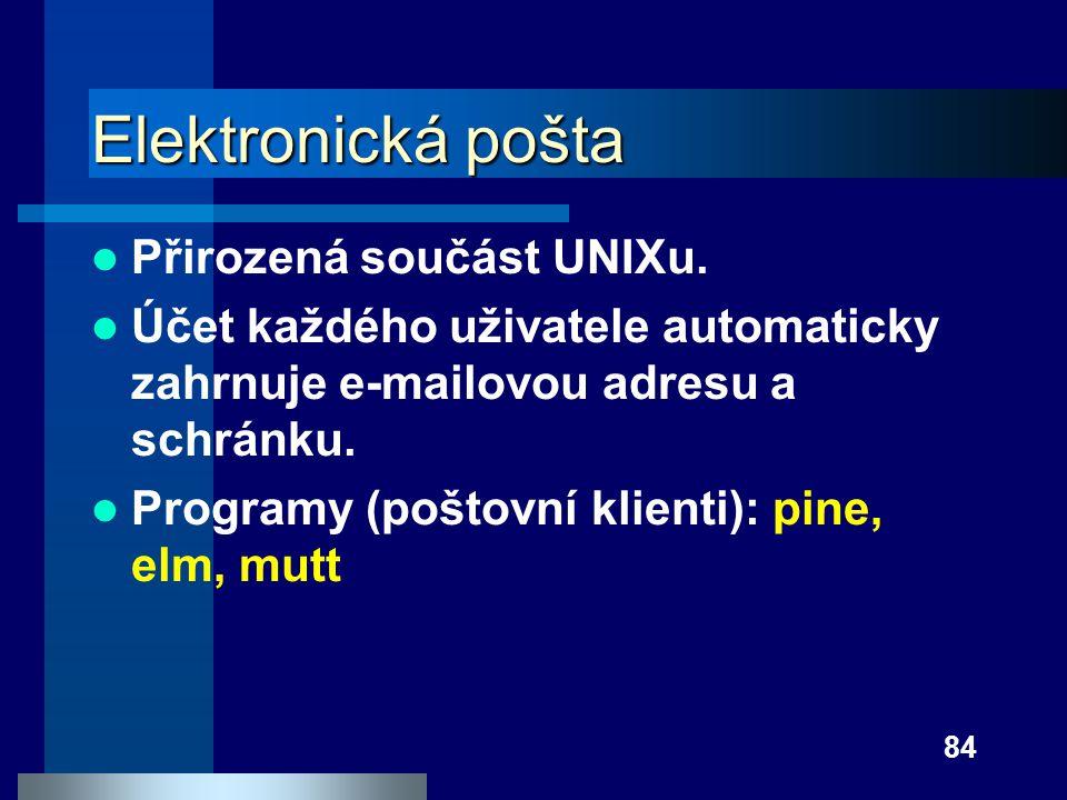 Elektronická pošta Přirozená součást UNIXu.