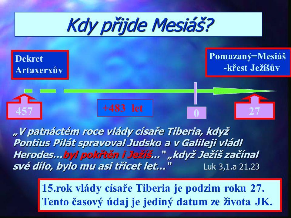 Kdy přijde Mesiáš Pomazaný=Mesiáš. -křest Ježíšův. Dekret. Artaxerxův. 457. 27. +483 let.