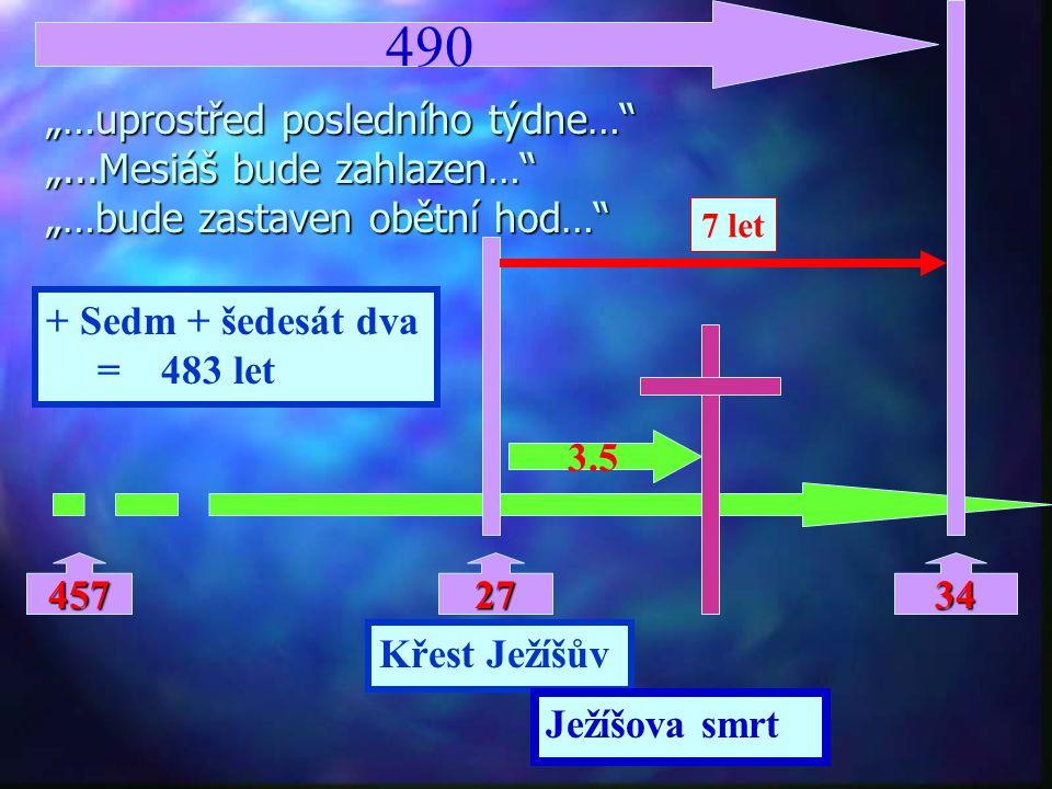 """490 """"…uprostřed posledního týdne… """"...Mesiáš bude zahlazen… """"…bude zastaven obětní hod… 7 let. + Sedm + šedesát dva."""
