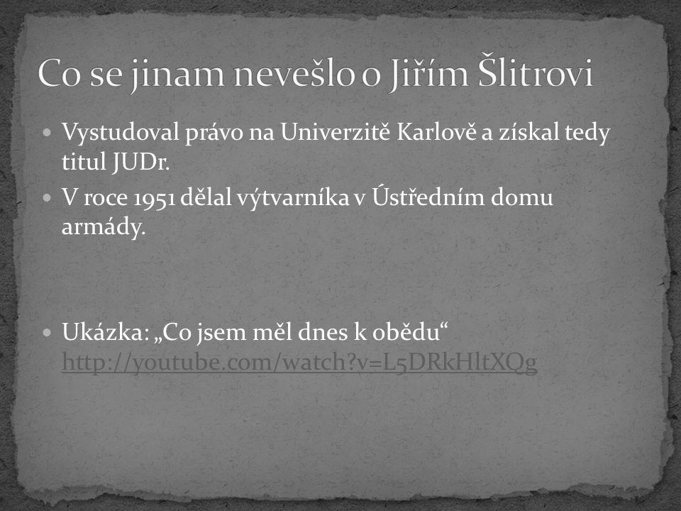 Co se jinam nevešlo o Jiřím Šlitrovi