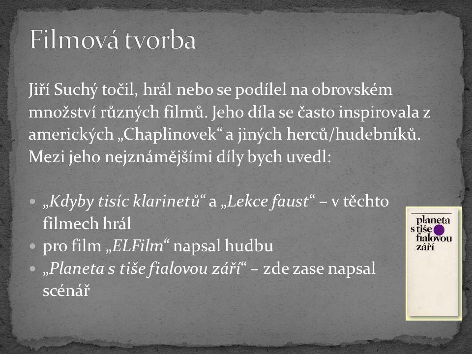 Filmová tvorba Jiří Suchý točil, hrál nebo se podílel na obrovském